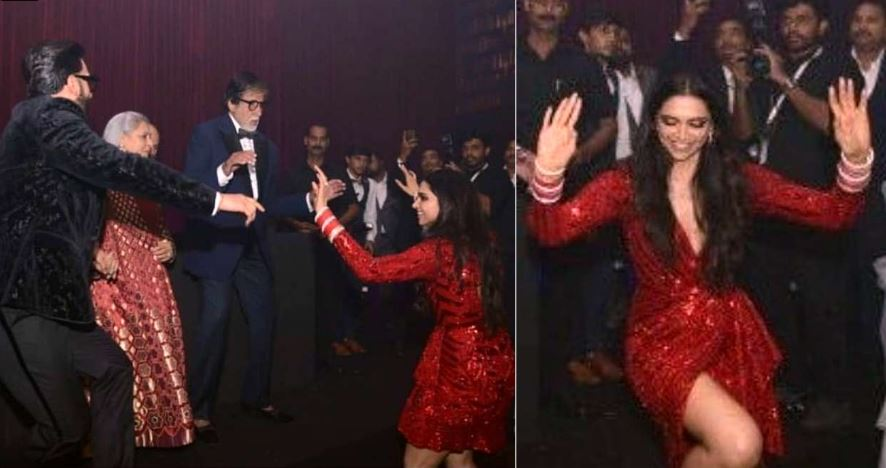 Photo of Amitabh Bachchan Dancing With Ranveer Singh And Deepika Padukone at Their Mumbai Reception Stole The Show