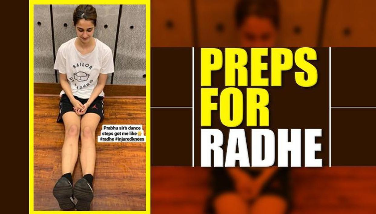 "Photo of Disha Patani Gets Her Knees Injured During Dance Rehearsals for "" Radhe"" With Director Prabhu Deva"