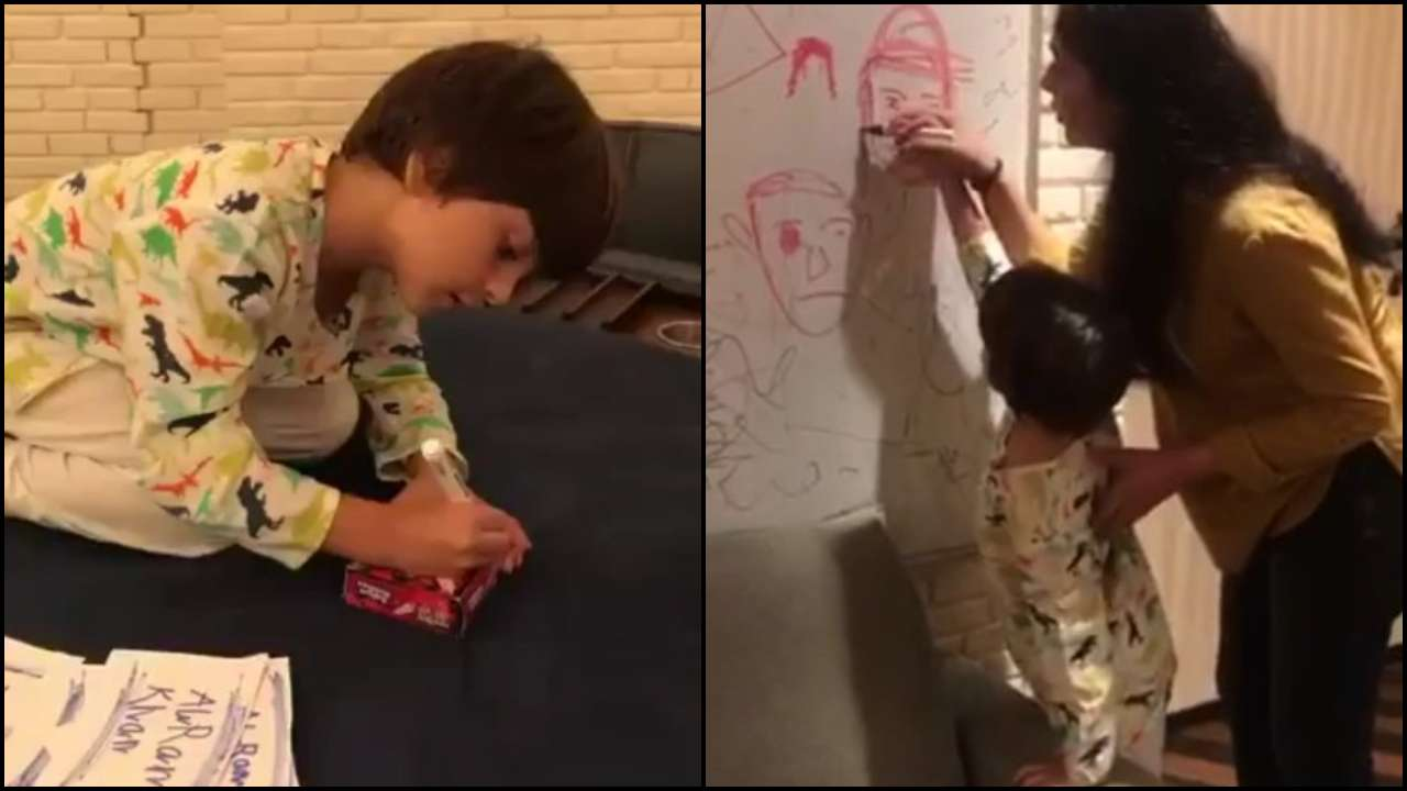 Photo of Have A Look At Shah Rukh Khan's Youngest One AbRam's Artistic Side In These Videos