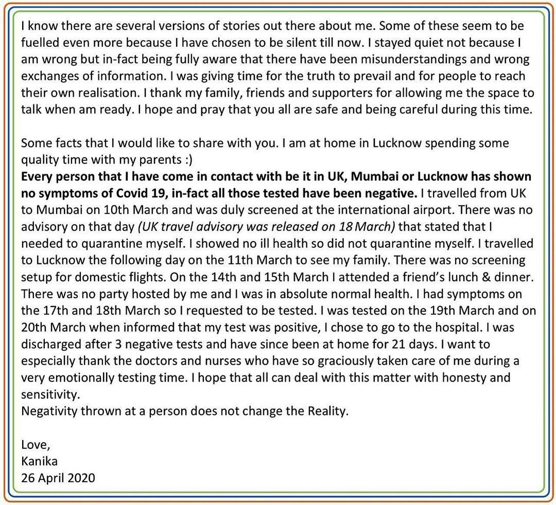 Kanika Kapoor Releases Official Statement Post Covid-19 ...