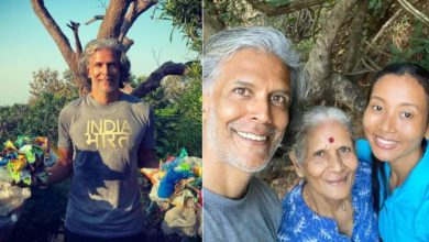 Photo of Milind Soman Treks And Collects Garbage With Ankita Konwar